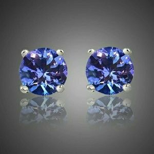 Jewelry - Genuine Tanzanite Sterling Silver Stud Earrings